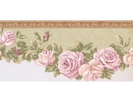 Prepasted Wallpaper Borders - Floral Wall Paper Border EG022104B