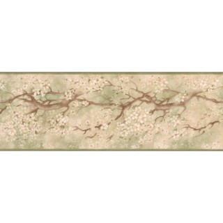 7 in x 15 ft Prepasted Wallpaper Borders - Floral Wall Paper Border EG022113B