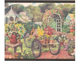10 1/4 in x 15 ft Prepasted Wallpaper Borders - Garden Wall Paper Border EG022121B