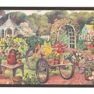 10 1/4 in x 15 ft Prepasted Wallpaper Borders - Garden Wall Paper Border EG022121B