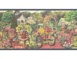 10 1/4 in x 15 ft Prepasted Wallpaper Borders - Garden Wall Paper Border EG022122B