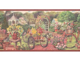 Prepasted Wallpaper Borders - Garden Wall Paper Border EG022123B