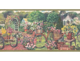 10 1/4 in x 15 ft Prepasted Wallpaper Borders - Garden Wall Paper Border EG022124B
