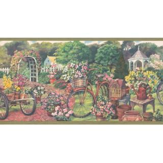 10 1/4 in x 15 ft Prepasted Wallpaper Borders - Garden Wall Paper Border EG022124B