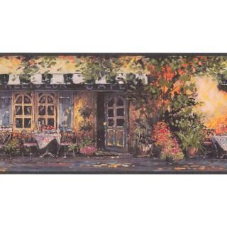 10 1/4 in x 15 ft Prepasted Wallpaper Borders - Café Wall Paper Border EG022171B