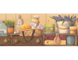Prepasted Wallpaper Borders - Kitchen Wall Paper Border EG022183B