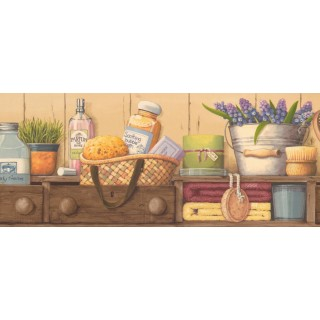 8 1/8 in x 15 ft Prepasted Wallpaper Borders - Kitchen Wall Paper Border EG022183B