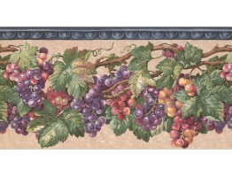 Prepasted Wallpaper Borders - Grapes Wall Paper Border EG022201B