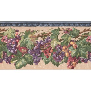 10 1/4 in x 15 ft Prepasted Wallpaper Borders - Grapes Wall Paper Border EG022201B