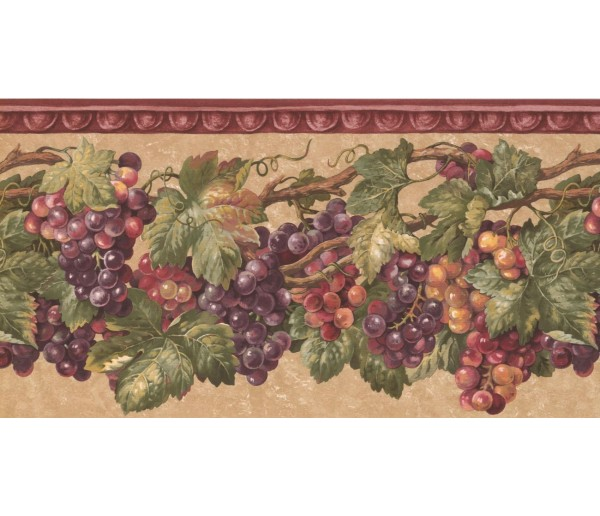 Prepasted Wallpaper Borders - Grapes Wall Paper Border EG022203B