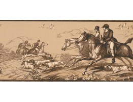 9 in x 15 ft Prepasted Wallpaper Borders - Horse and Dogs Wall Paper Border EP7102B