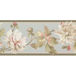 9 in x 15 ft Prepasted Wallpaper Borders - Floral Wall Paper Border EP7183B