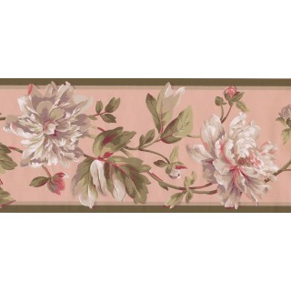 9 in x 15 ft Prepasted Wallpaper Borders - Floral Wall Paper Border EP7184B