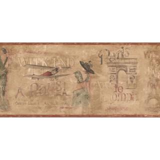 9 in x 15 ft Prepasted Wallpaper Borders - Paris Wall Paper Border EU4600B