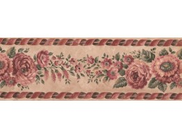 Prepasted Wallpaper Borders - Floral Wall Paper Border FE31361B