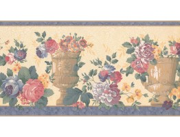 10 1/4 in x 15 ft Prepasted Wallpaper Borders - Floral Wall Paper Border FM24183B