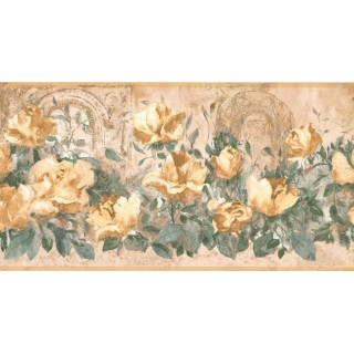 10 1/4 in x 15 ft Prepasted Wallpaper Borders - Floral Wall Paper Border FR4998B
