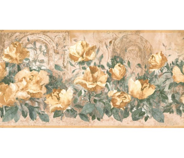 Prepasted Wallpaper Borders - Floral Wall Paper Border FR4998B