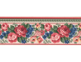 Prepasted Wallpaper Borders - Floral Wall Paper Border FR851B