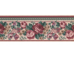 7 in x 15 ft Prepasted Wallpaper Borders - Floral Wall Paper Border FR852B