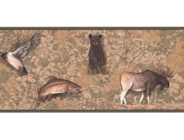 9 in x 15 ft Prepasted Wallpaper Borders - Jungle Animals Wall Paper Border FS4955B