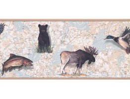 9 in x 15 ft Prepasted Wallpaper Borders - Jungle Animals Wall Paper Border FS4956B