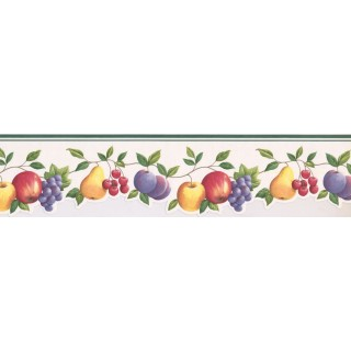 4.25 in x 15 ft Prepasted Wallpaper Borders - Fruits Wall Paper Border GH74100B