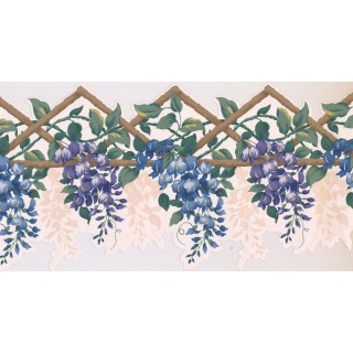 10 1/4 in x 15 ft Prepasted Wallpaper Borders - Floral Wall Paper Border GS254B