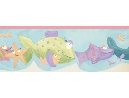 7 in x 15 ft Prepasted Wallpaper Borders - Fishes Wall Paper Border GU79242DC