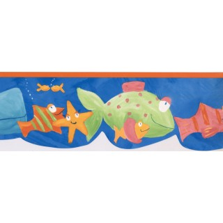 7 in x 15 ft Prepasted Wallpaper Borders - Fishes Wall Paper Border GU79243N