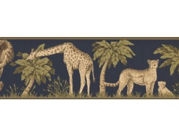 Prepasted Wallpaper Borders - Jungle Animals Wall Paper Border HE3541B