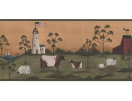 9 in x 15 ft Prepasted Wallpaper Borders - Lighthouse Wall Paper Border HF8512B