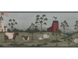 9 in x 15 ft Prepasted Wallpaper Borders - Lighthouse Wall Paper Border HF8513B