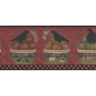 9 in x 15 ft Prepasted Wallpaper Borders - Fruits Basket Wall Paper Border HF8519B