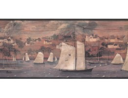 Prepasted Wallpaper Borders - Ships Wall Paper Border HF8524B