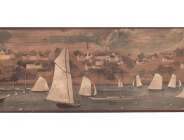 Prepasted Wallpaper Borders - Ships Wall Paper Border HF8525B