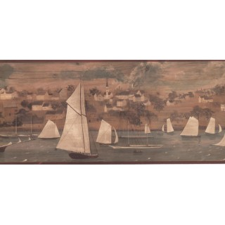 9 in x 15 ft Prepasted Wallpaper Borders - Ships Wall Paper Border HF8525B