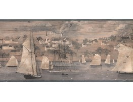 Prepasted Wallpaper Borders - Ships Wall Paper Border HF85266B