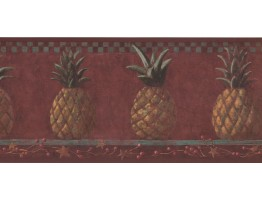 Prepasted Wallpaper Borders - Pineapple Fruits Wall Paper Border HF8646B
