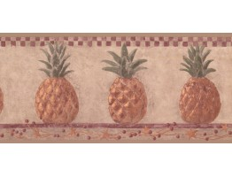 Prepasted Wallpaper Borders - Pineapple Fruits Wall Paper Border HF8648B