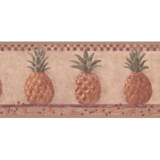 9 1/2 in x 15 ft Prepasted Wallpaper Borders - Pineapple Fruits Wall Paper Border HF8648B