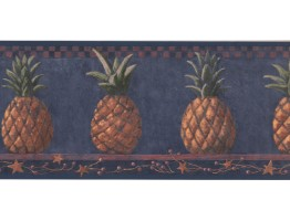 Prepasted Wallpaper Borders - Pineapple Fruits Wall Paper Border HF8649B