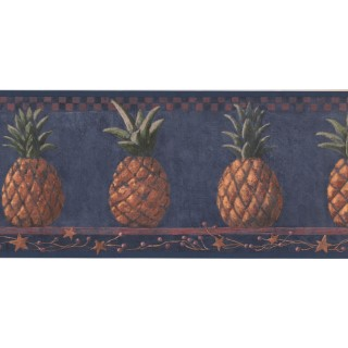 9 1/4 in x 15 ft Prepasted Wallpaper Borders - Pineapple Fruits Wall Paper Border HF8649B