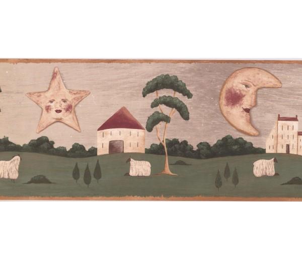 Prepasted Wallpaper Borders - Sun, Moon and Star Wall Paper Border HF8675B