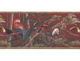 9 in x 15 ft Prepasted Wallpaper Borders - Birds and Monkey Wall Paper Border HG534B