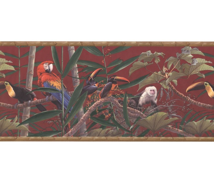New  Arrivals Wall Borders: Birds and Monkey Wallpaper Border HG534B