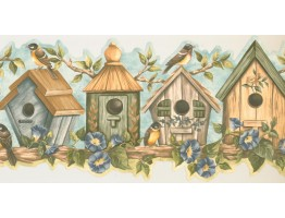 Prepasted Wallpaper Borders - Birds Cage Wall Paper Border HH90164B