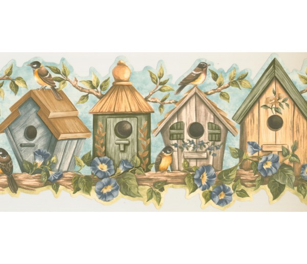 Prepasted Wallpaper Borders - Birds Cage Wall Paper Border HH90164B