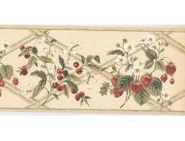 Prepasted Wallpaper Borders - Fruits Wall Paper Border HS7877B