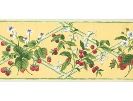 9.1 in x 15 ft Prepasted Wallpaper Borders - Fruits Wall Paper Border HS7878B